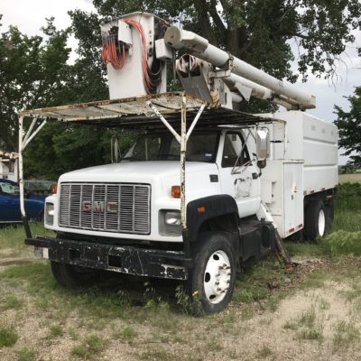 1998 GMC White Bucket Tree Chip Truck